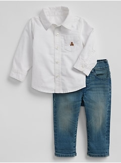 Baby Oxford Shirt and Jeans Outfit Set