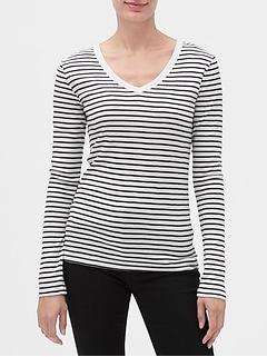 Favorite Stripe Long Sleeve V-Neck T-Shirt