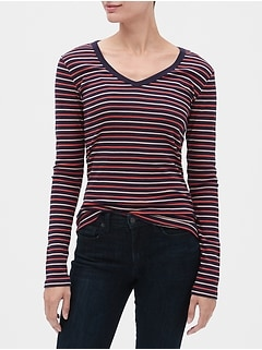 Favorite Stripe Long Sleeve V-Neck T-Shirt