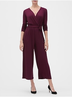 Long Sleeve Wrap-Front Jumpsuit