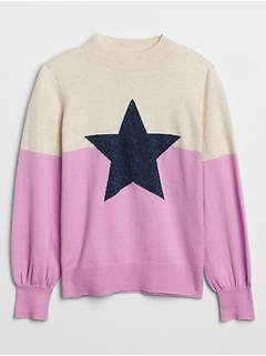 Kids Colorblock Graphic Mockneck Sweater