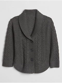 Toddler Cable-Knit Shawl Collar Cardigan