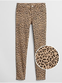 Kids Leopard Print High Stretch Jeggings