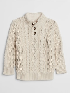 Toddler Cable-Knit Mockneck Sweater