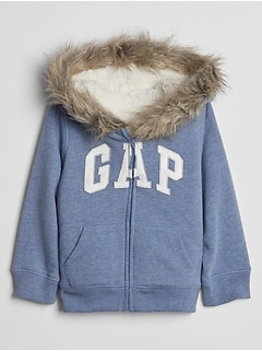 Toddler Gap Logo Sherpa-Lined Zip Faux-Fur Hoodie
