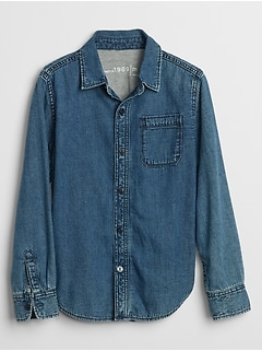 Kids Jersey-Lined Denim Long Sleeve Shirt