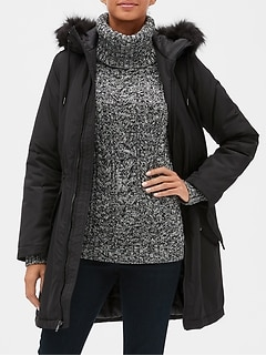 Warmest Parka Jacket with Faux-Fur Trim