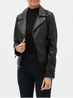 Faux-Leather Moto Jacket