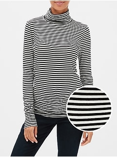 Featherweight Stripe Turtleneck Top