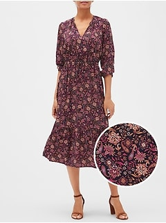 Split-Neck Print Midi Dress