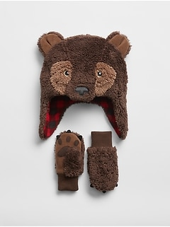 Toddler Bear Trapper Hat Set