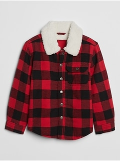 Toddler Sherpa-Lined Flannel Shirt Jacket