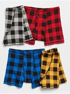 Kids Plaid Boxer Briefs (4-Pack)
