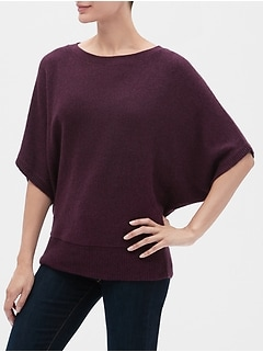 Elbow-Sleeve Sweater Poncho
