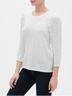 Soft Slub Puff Sleeve T-Shirt
