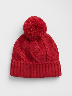 Kids Cable-Knit Pom Pom Beanie