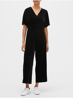 V-Neck Velvet Jumpsuit