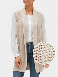 Ribbed Open-Front Vest