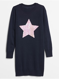Kids Sequin Graphic Sweater Dress