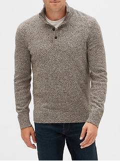 Button Mockneck Sweater