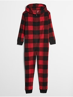 Kids Plaid Hooded Onesie Jumpsuit
