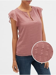 Flutter Sleeve Split-Neck Top in Clip Dot