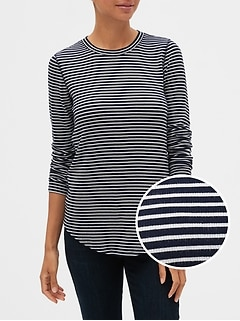 Stripe Ribbed Long Sleeve Crewneck T-Shirt