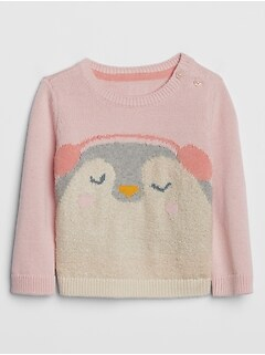 Baby Intarsia Penguin Graphic Sweater