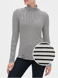 Stripe Ribbed Turtleneck Top