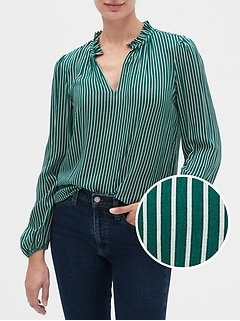 Stripe Ruffle-Neck Blouse