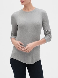 Ribbed Long Sleeve Crewneck T-Shirt
