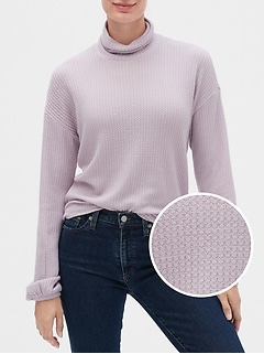 Waffle Stitch Turtleneck Sweater