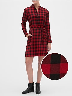 Plaid Ruffle-Neck Shirtdress