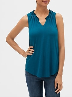 Ruffle-Trim Split-Neck Tank Top in Slub Jersey