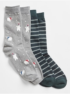 Pattern Crew Socks (2-Pack)