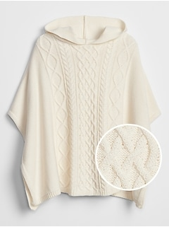 Kids Cable-Knit Poncho