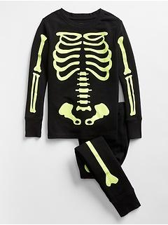 Kids Glow-in-the Dark Skeleton PJ Set