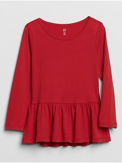 Toddler Long Sleeve Peplum T-Shirt