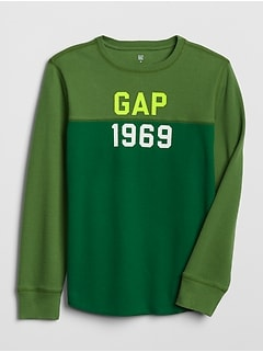 Kids Gap Logo Long Sleeve Thermal T-Shirt