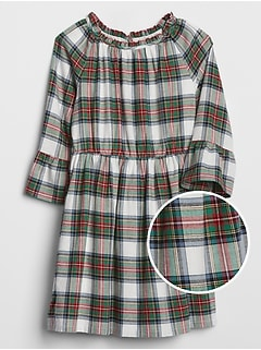 Kids Ruffle Plaid Dress