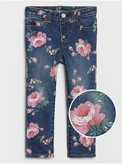 Toddler Floral Print Skinny Jeans with Fantastiflex
