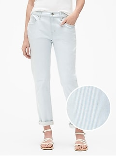Mid Rise Stripe Girlfriend Jeans