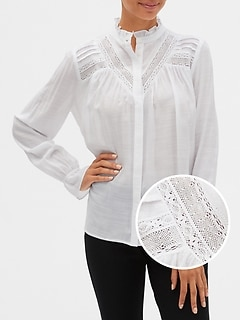 Lace-Trim Pintuck Shirt