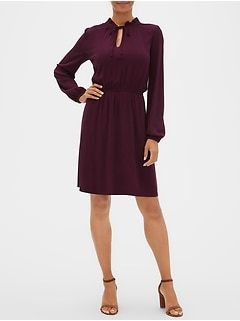 Long Sleeve Tie-Neck Dress