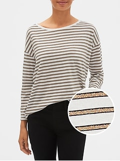 Relaxed Long Sleeve Stripe Boatneck T-Shirt