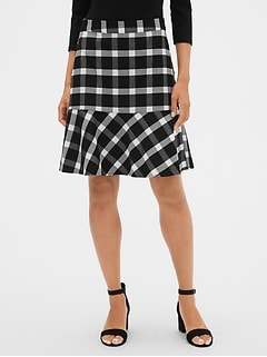 Plaid Peplum Mini Skirt