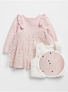 Baby Dress Faux-Fur Vest Outfit Set