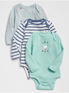 Baby Print Long Sleeve Bodysuit (3-Pack)