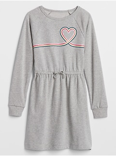 Kids Graphic Cinched-Waist Sweatshirt Dress