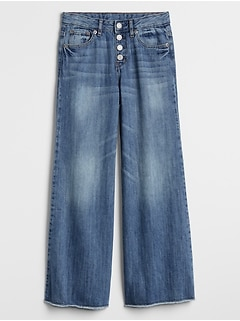 Kids High Rise Wide-Leg Jeans with Raw Hem